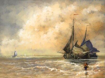 Canvas print Oil paintings landscape,sea, ships, boat