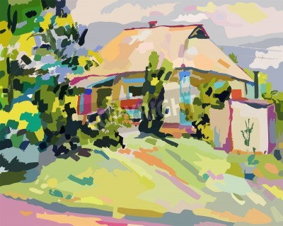 Canvas print oil paintings of summer village