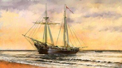 Canvas print Oil paintings sea landscape. Ships, boat, fisherman.Digital art
