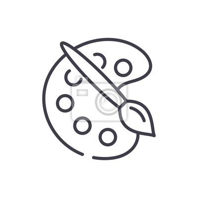 Oil paints black icon concept. Oil paints flat  vector symbol, sign, illustration.
