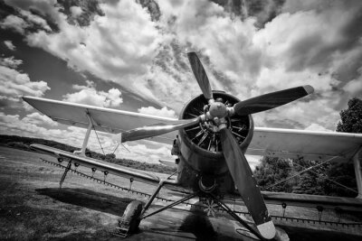 Canvas print Old airplane on field in black and white
