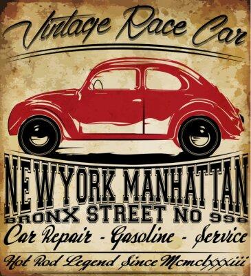 Canvas print Old Car Vintage Classic Retro man T shirt Graphic Design