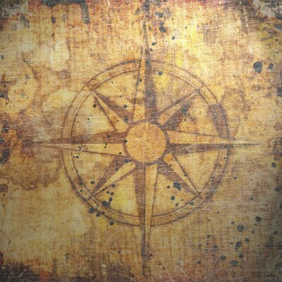 Canvas print Old compass on paper background