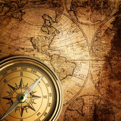 Canvas print old compass on vintage map 1746