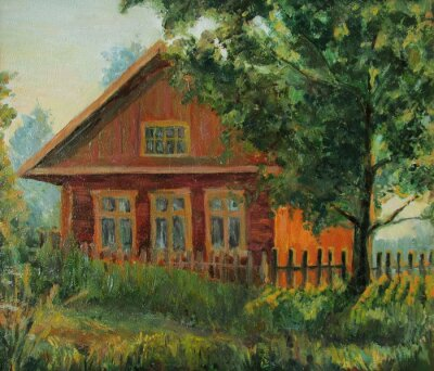 Old country house, evening landscape, oil painting