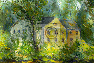 Old cozy house among green trees and bushes - summer landscape - oil painting and palette knife, impasto close-up impressionism illustration.