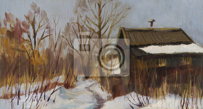Old house. The winter landscape. Oil painting
