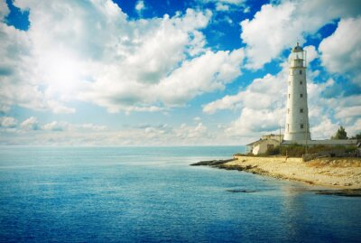 Old lighthouse on sea coast