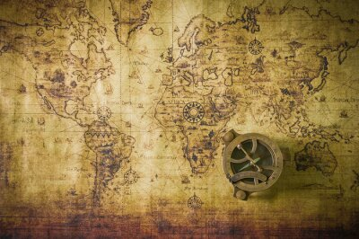 Canvas print old map with compass