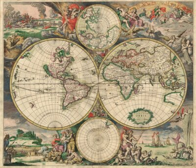Canvas print Old map(1689)