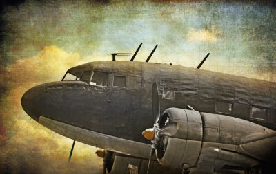 Canvas print Old military aircraft, grunge background