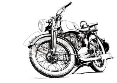 Canvas print old motorcycle illustration