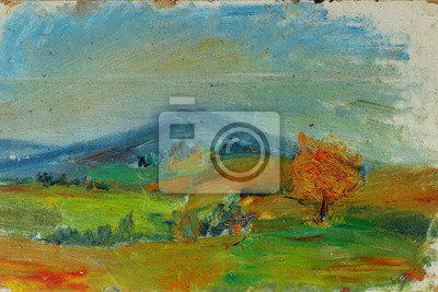 Canvas print Old oil painting autumn landscape with mountains, trees, sky, sunset On Canvas