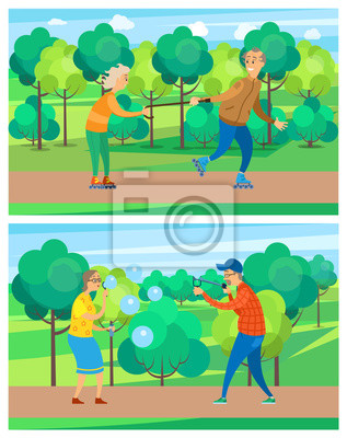 Old people in park, leisure of aged man and woman walking near green trees, blowing bubbles, targeting, rollerblading, grandparents activity vector, funny grandmother and grandfather