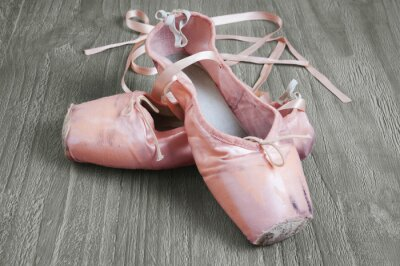 Canvas print old pink ballet shoes