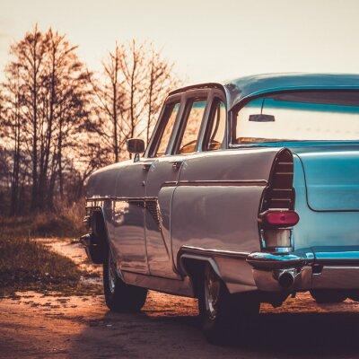 Canvas print Old retro or vintage car back side. Vintage effect processing