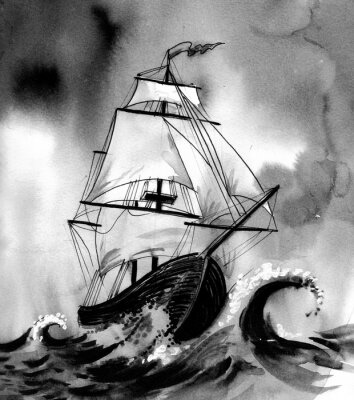 Canvas print Old ship in stormy sea