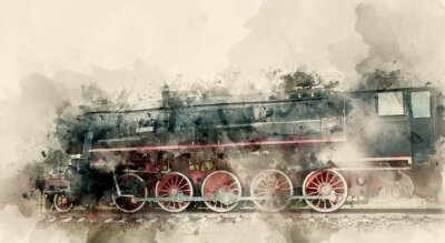 Canvas print Old steam locomotives of the 20th century. Watercolor background