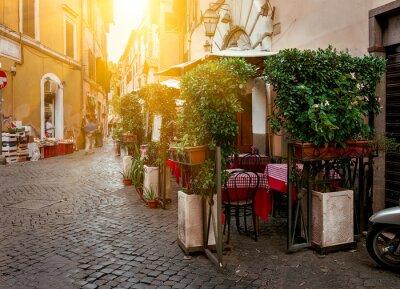 Canvas print Old street in Trastevere in Rome, Italy