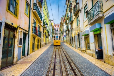 Canvas print old town streets and street car in Lisbon, Portugal