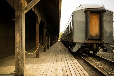 Canvas print Old train on station