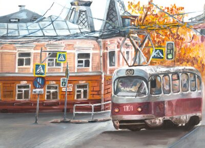 Canvas print Old tram, oil paintings landscape, city. Fine art. Autimn in the city.