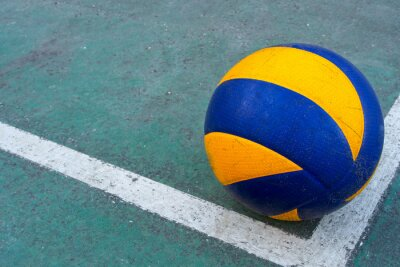 Canvas print Old volleyball on a dirty court