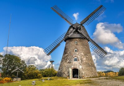 Canvas print Old windmill by summer day