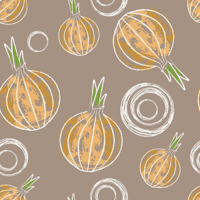 Onion rings and bulbs. Seamless pattern