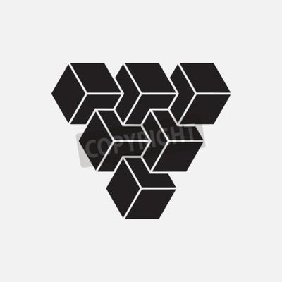 Canvas print Optical illusion, cubes, geometric element, vector illustration