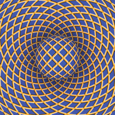 Canvas print Optical illusion of rotation of the ball against the background of a moving space.
