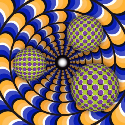 Canvas print Optical illusion of rotation of three ball around of a moving hole. Abstract background.