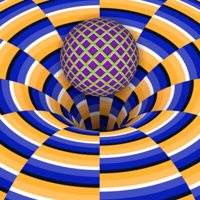 Canvas print Optical illusion of the ball is falling into a hole. Abstract background.