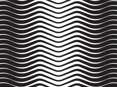 Canvas print optical wave  abstract striped background black and white