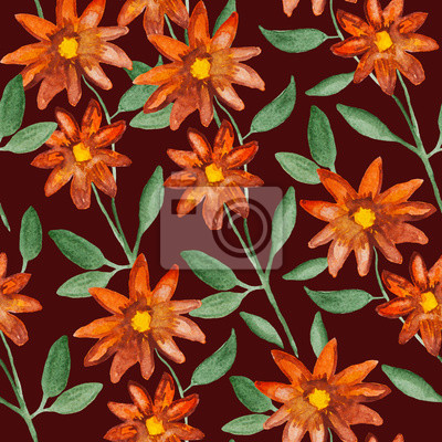 Orange flowers on branch plant, watercolor painting - floral seamless pattern on brown background