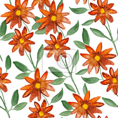 Orange flowers on branch plant, watercolor painting - floral seamless pattern on white background