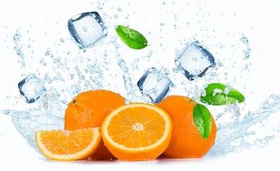 Canvas print Oranges with water splash