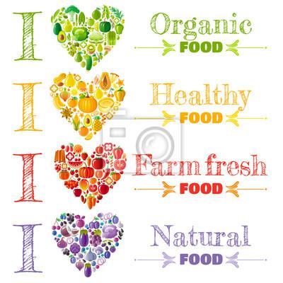 Organic food banner set template, heart icons. Fruit vegetable vector illustration. Fruits - peach, pear, lemon, apple, mango, kiwi, lime. Vegetables - corn, chili, peas, soybean. Herbs - mint, basil