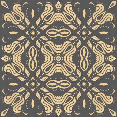 Canvas print Oriental golden pattern with arabesques and floral elements. Traditional classic ornament