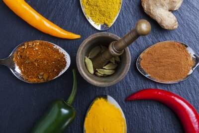 Canvas print oriental indian spices curry paprika nutmeg on slate