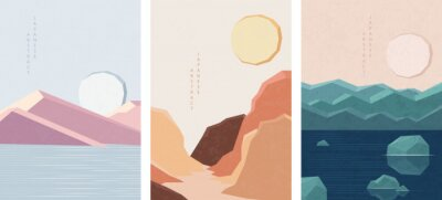 Oriental Japanese style abstract pattern background design geometry landscape view of nature mountain lake ocean and sun