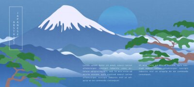 Oriental Japanese style abstract pattern background design nature landscape view of fuji mountain lake blue sky and tree