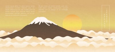 Oriental Japanese style abstract pattern background design nature landscape view of sun rise mountain and cloud