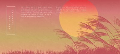 Oriental Japanese style abstract pattern background design sunset landscape view of reed and grass ground