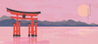 Oriental Japanese style abstract pattern background design travel nature landscape view of mountain lake and traditional Japanese gate Torii