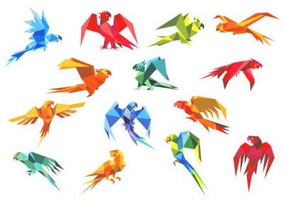 Canvas print Origami paper models of parrots