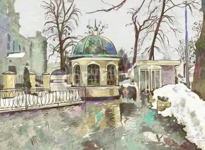 Canvas print original digital painting of winter cityscape  Modern Impressionism