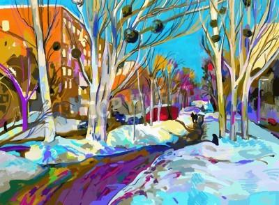 Canvas print original digital painting of winter cityscape. Modern Impressionism