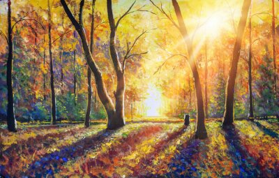 Canvas print Original hand painted autumn oil painting on canvas. Sunny autumn dark trees in gold autumn forest park wood alley impressionism art