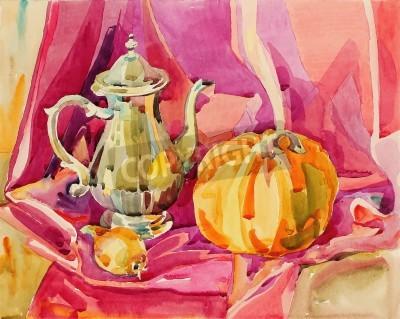 Canvas print original handmade watercolor painting still life with silver tea pot and pumpkin, art composition, vector illustration